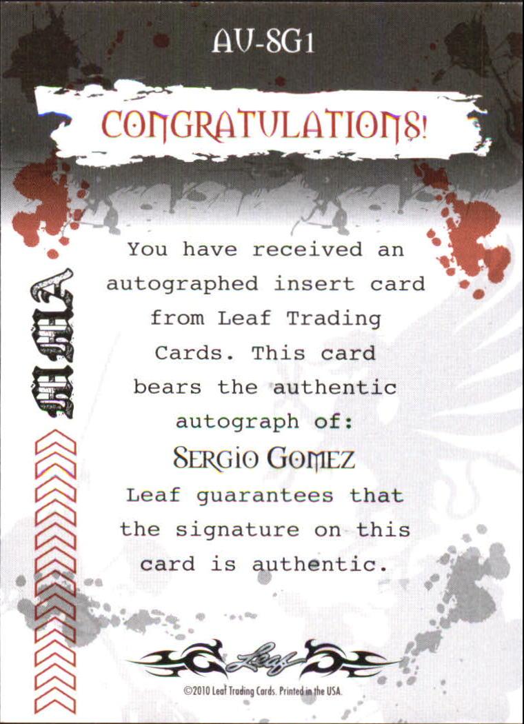 2010 Leaf MMA Autographs Red #AUSG1 Sergio Gomez back image