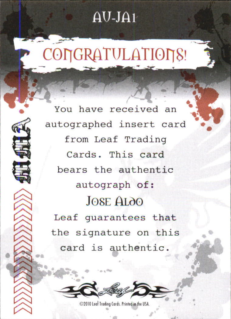 2010 Leaf MMA Autographs Purple #AUJA1 Jose Aldo back image