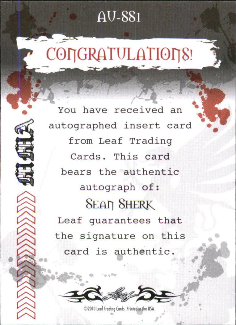 2010 Leaf MMA Autographs Purple #AUSS1 Sean Sherk back image