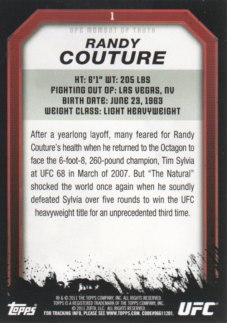 2011 Topps UFC Moment of Truth #1 Randy Couture back image