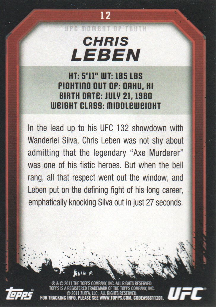 2011 Topps UFC Moment of Truth #12 Chris Leben back image