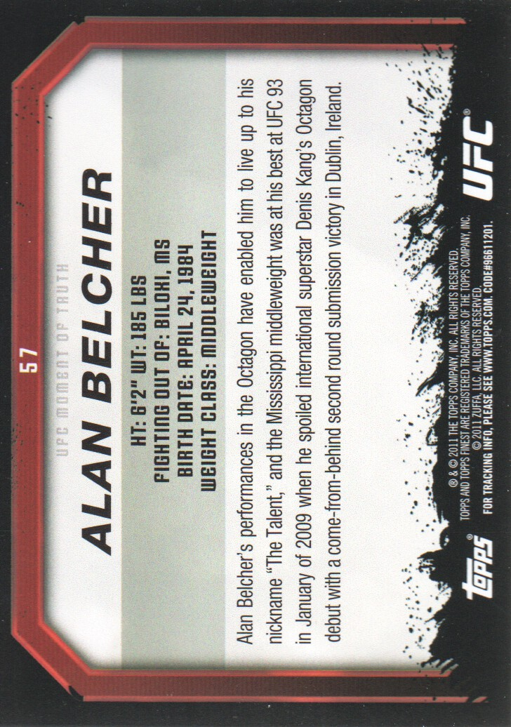 2011 Topps UFC Moment of Truth #57 Alan Belcher back image