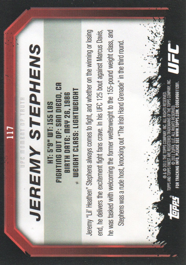 2011 Topps UFC Moment of Truth #117 Jeremy Stephens back image