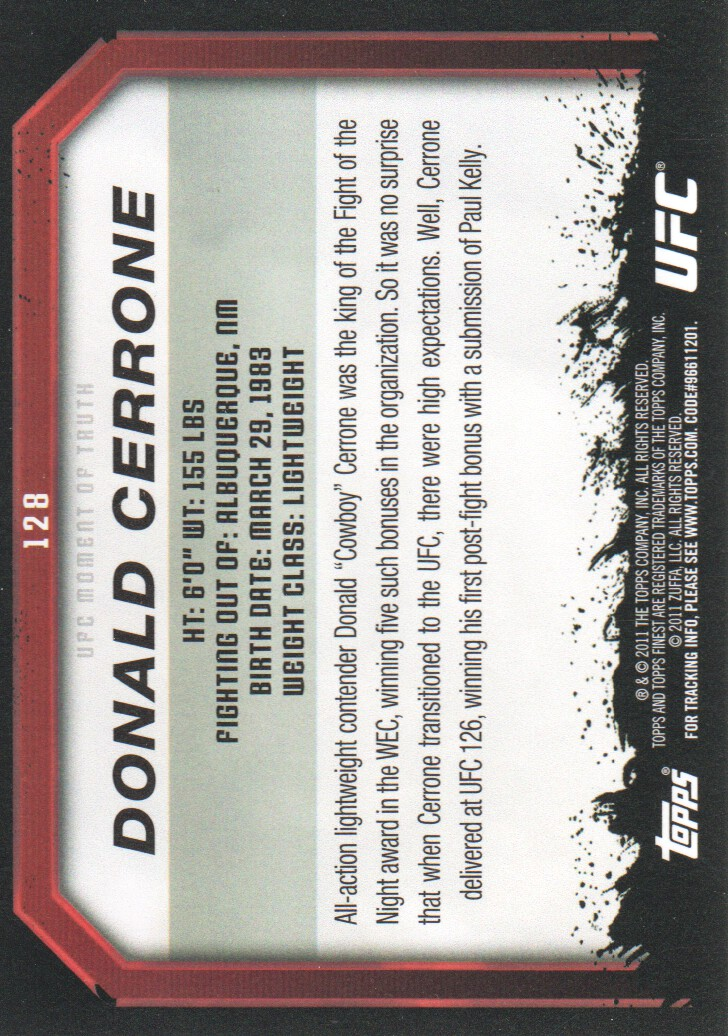 2011 Topps UFC Moment of Truth #128 Donald Cerrone back image