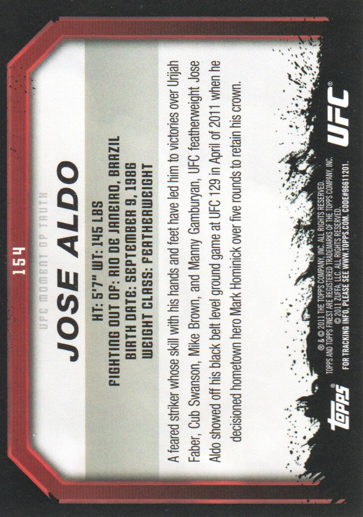2011 Topps UFC Moment of Truth #154 Jose Aldo back image