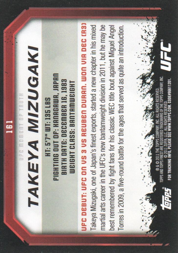 2011 Topps UFC Moment of Truth #161 Takeya Mizugaki back image