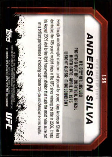 2011 Topps UFC Moment of Truth #165 Anderson Silva back image