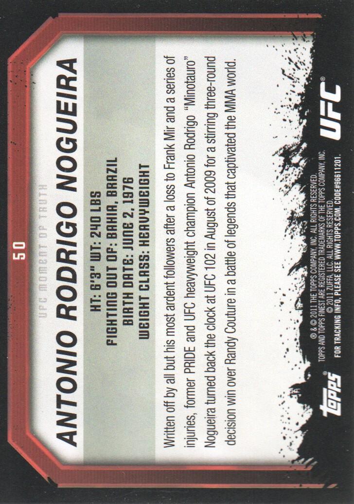 2011 Topps UFC Moment of Truth Gold #50 Antonio Rodrigo Nogueira back image