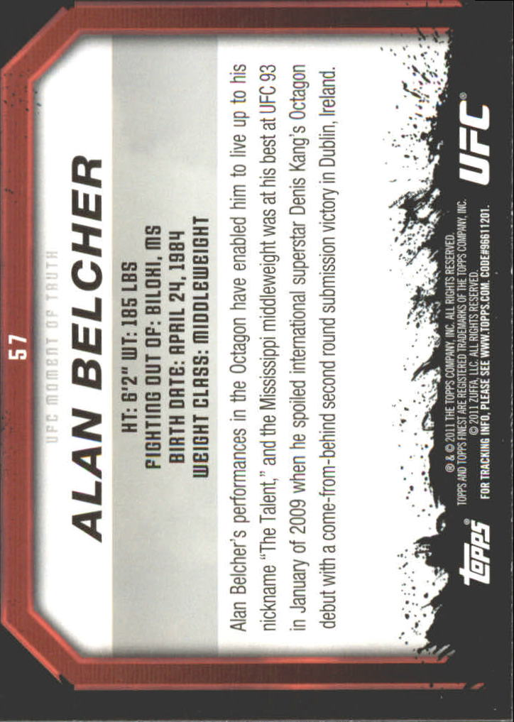 2011 Topps UFC Moment of Truth Gold #57 Alan Belcher back image