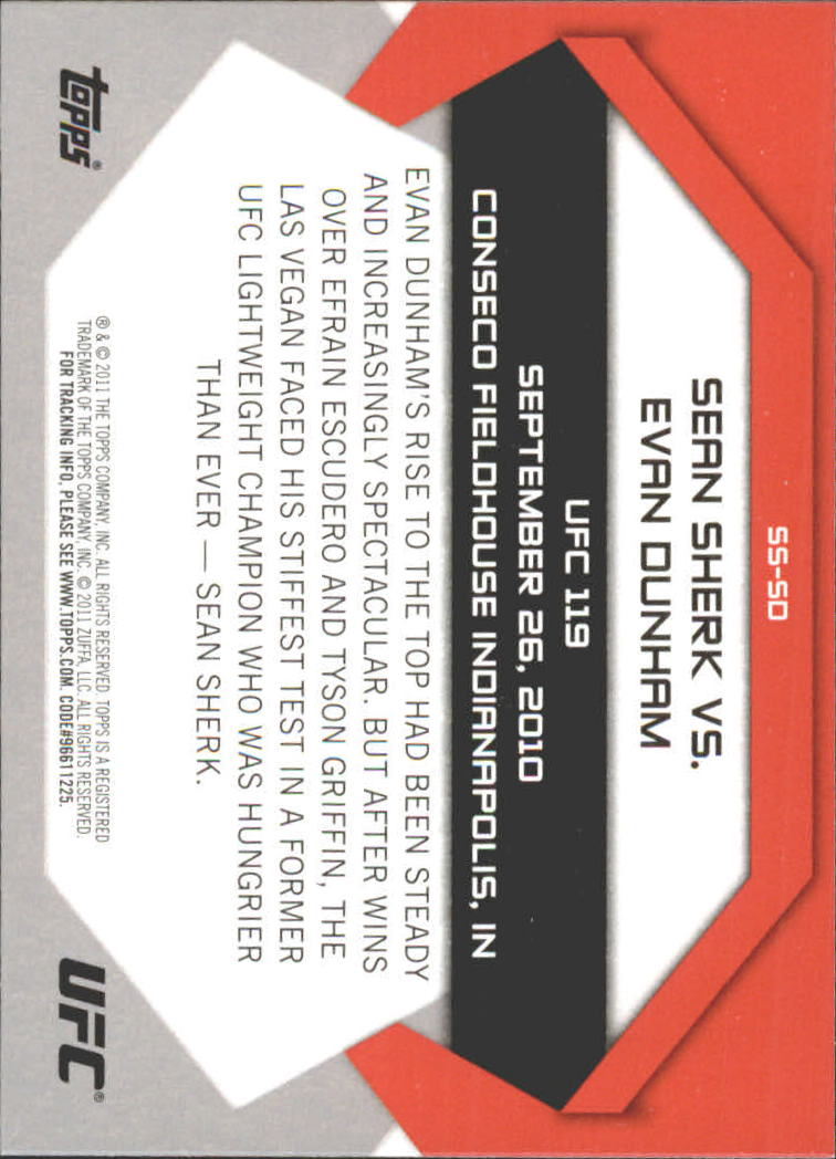 2011 Topps UFC Moment of Truth Showdown Shots #SSSD Sean Sherk/Evan Dunham UFC 119 back image