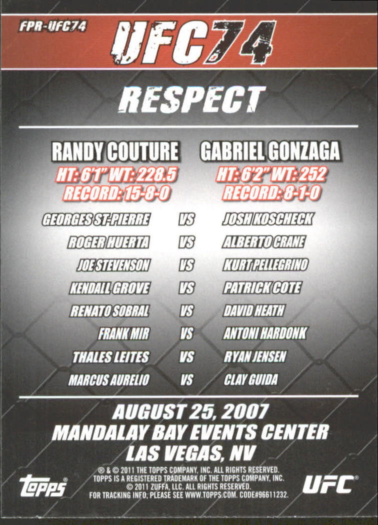 2011 Topps UFC Moment of Truth Fight Poster #UFC74 UFC 74 Respect back image