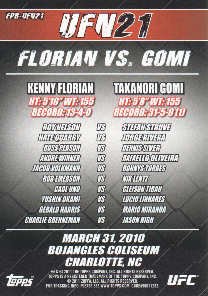 2011 Topps UFC Moment of Truth Fight Poster #UFN21 UFN 21 Florian vs. Gomi back image