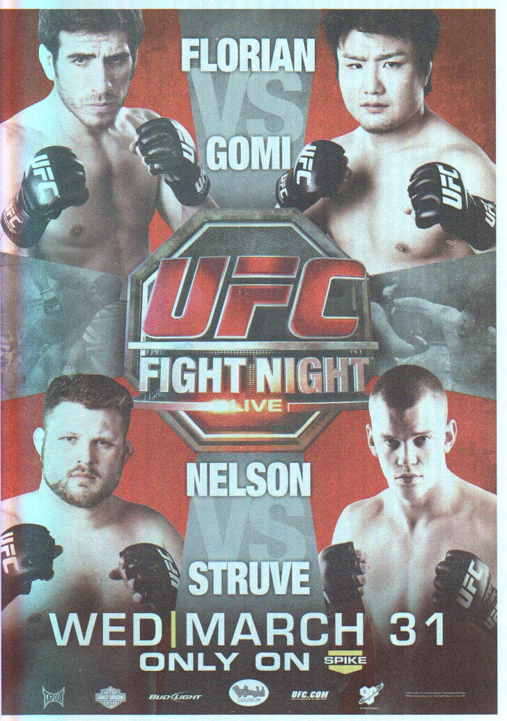2011 Topps UFC Moment of Truth Fight Poster #UFN21 UFN 21 Florian vs. Gomi