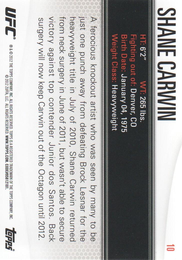 2012 Topps UFC Knockout #10 Shane Carwin back image