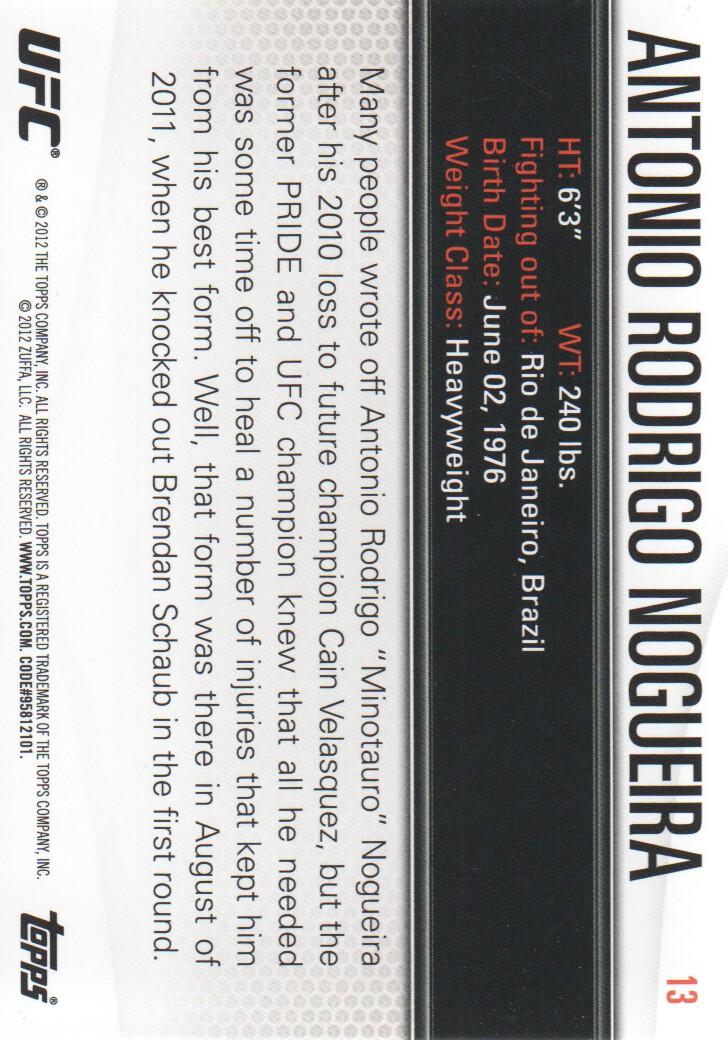 2012 Topps UFC Knockout #13 Antonio Rodrigo Nogueira back image