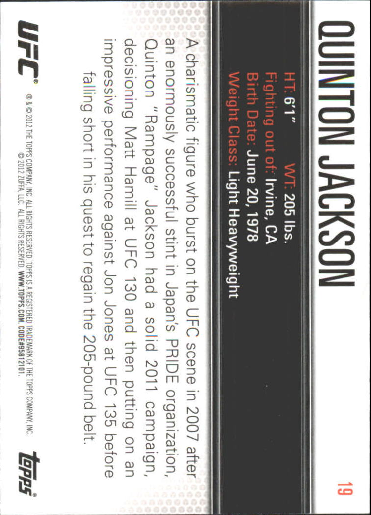 2012 Topps UFC Knockout #19 Quinton Jackson back image
