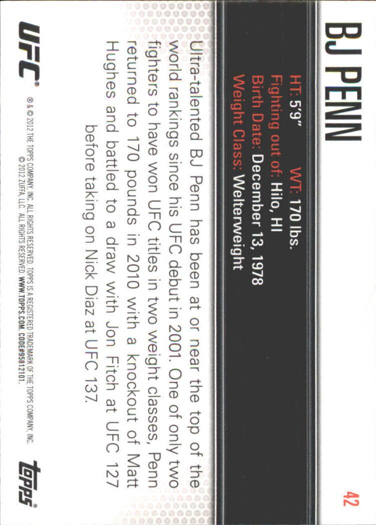 2012 Topps UFC Knockout #42 BJ Penn back image