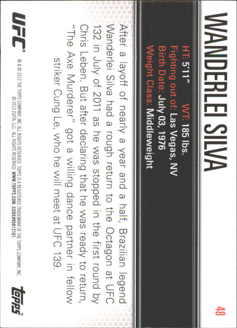 2012 Topps UFC Knockout #48 Wanderlei Silva back image