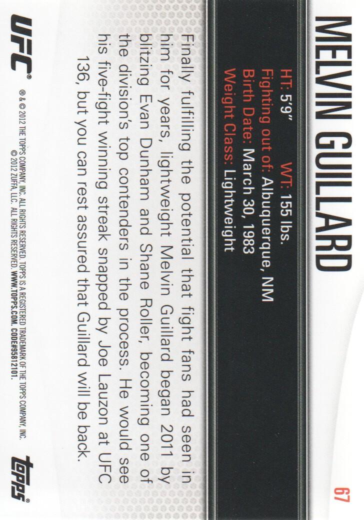 2012 Topps UFC Knockout #67 Melvin Guillard back image