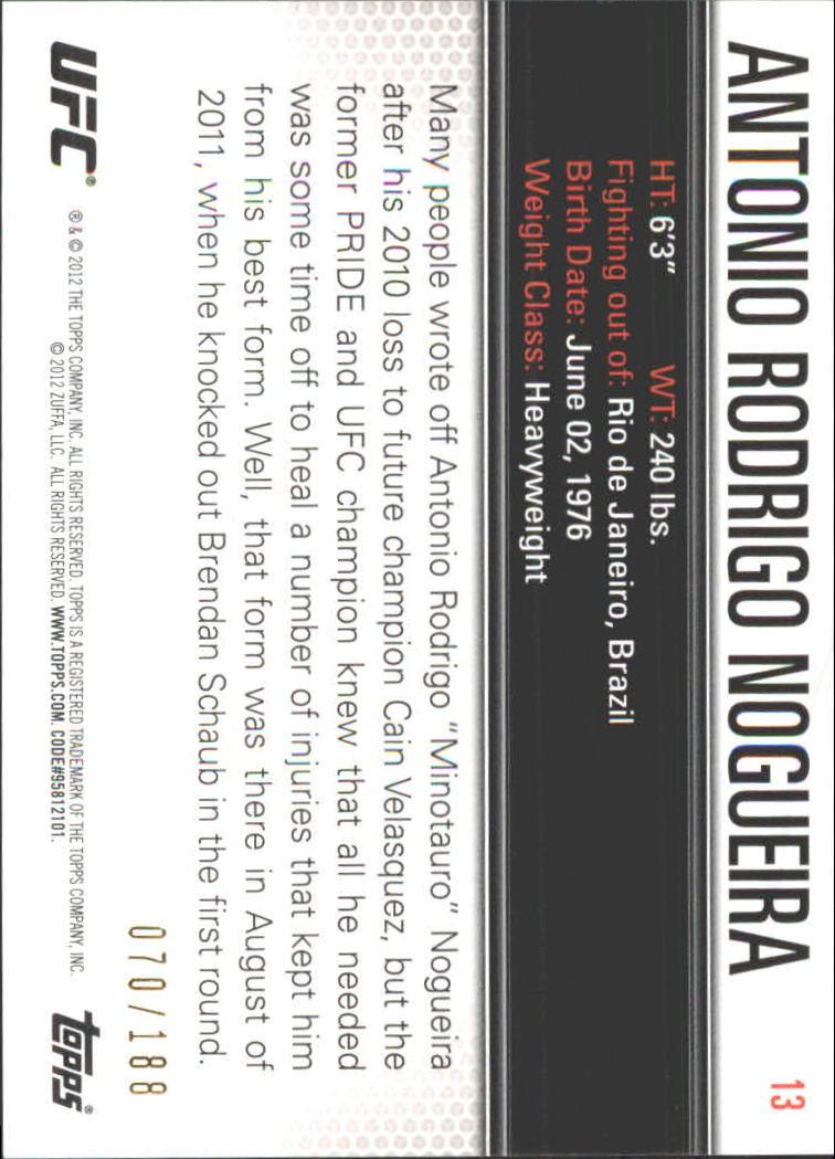 2012 Topps UFC Knockout Gold #13 Antonio Rodrigo Nogueira back image