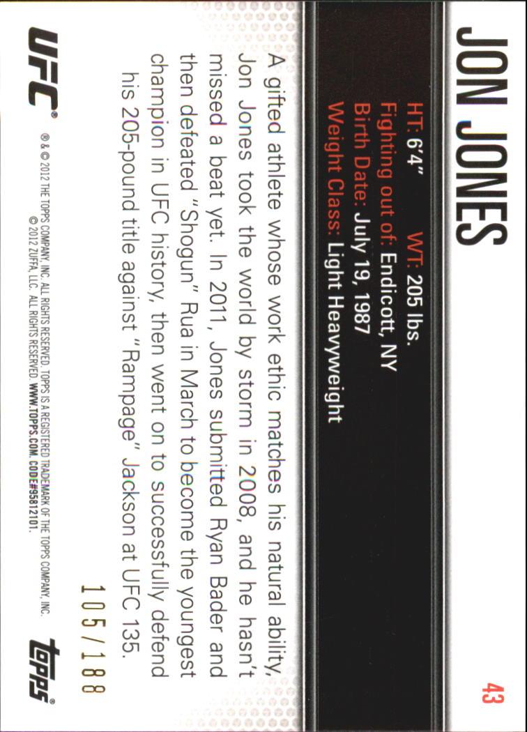 2012 Topps UFC Knockout Gold #43 Jon Jones back image