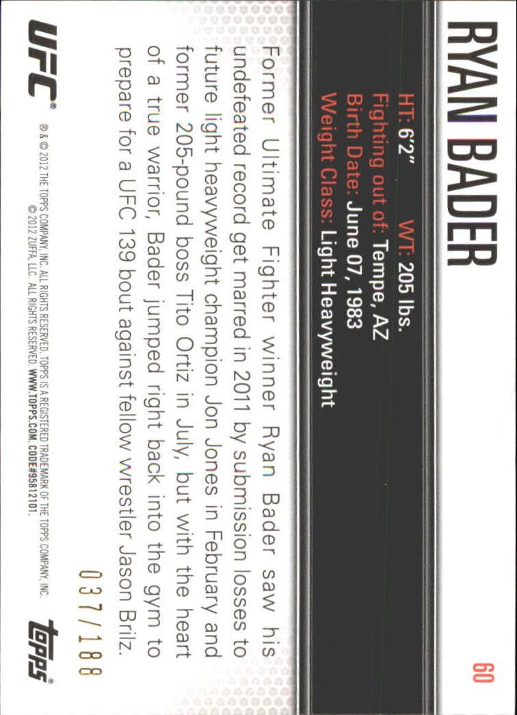 2012 Topps UFC Knockout Gold #60 Ryan Bader back image