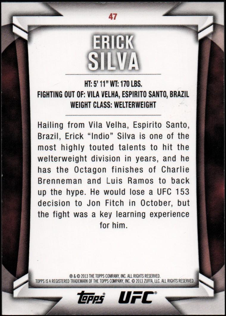 2013 Topps UFC Knockout #47 Erick Silva back image