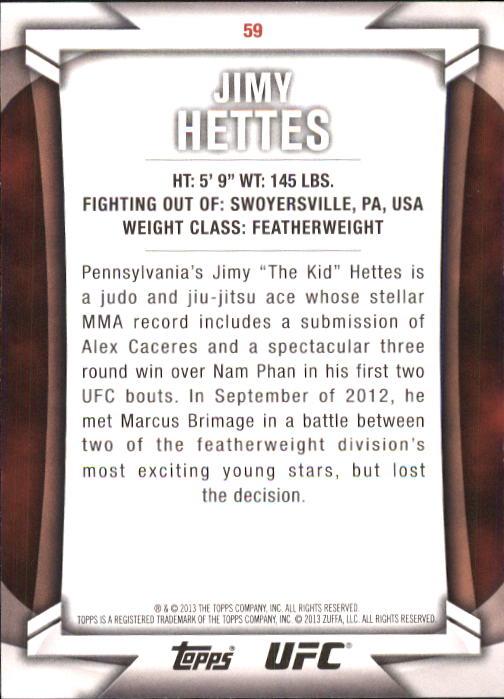 2013 Topps UFC Knockout #59 Jimy Hettes back image
