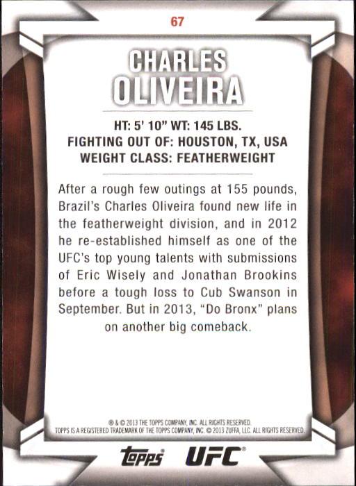2013 Topps UFC Knockout #67 Charles Oliveira back image