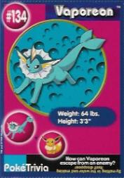 1999 Pokemon Burger King #134  Vaporeon